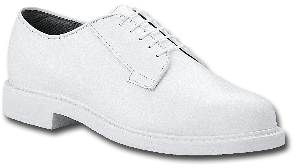 b131 - Bates Lites Men's White Leather Oxford Naval Shoes 131