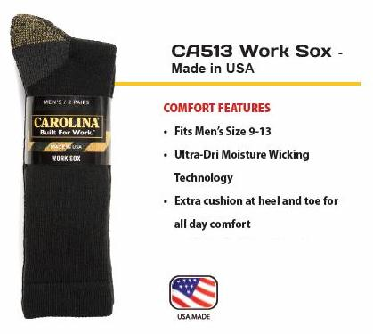 Carolina UltraDry Black Work Socks 6 Pair Pack
